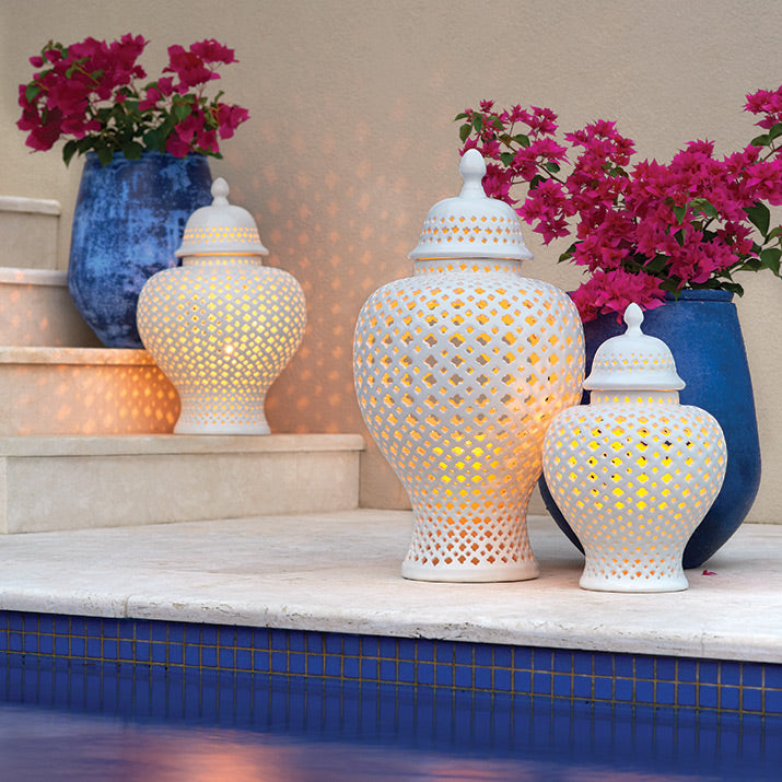 Temple Jars by the pool.