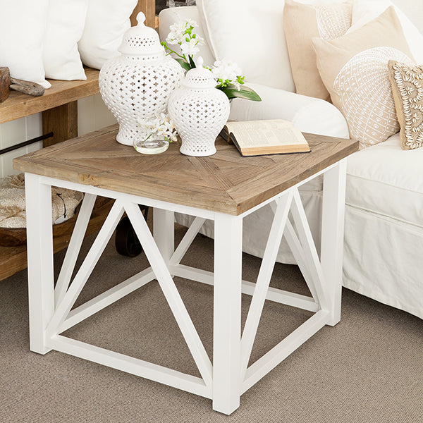 Elm top side table with white timber base.