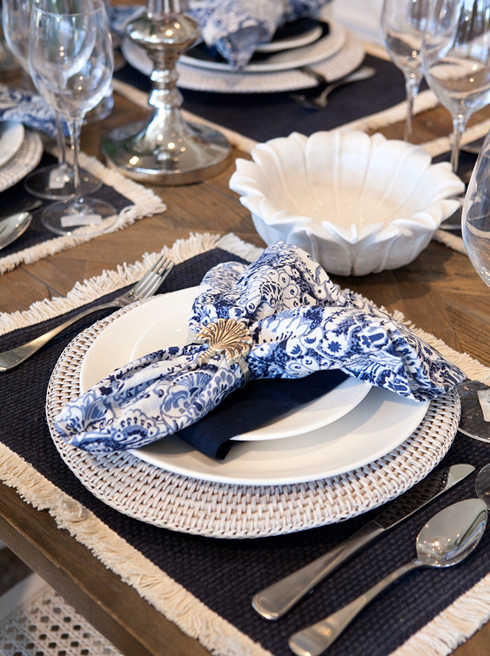 Blue and white table close up.