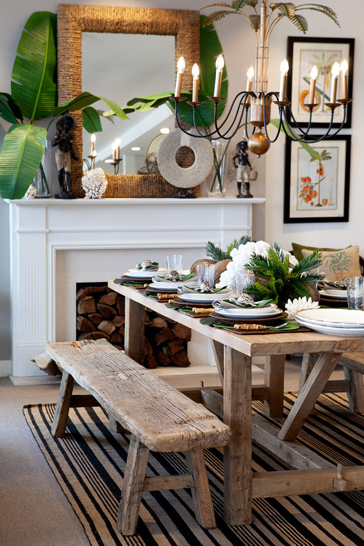 Tropical Dining table with bamboo cutlery.