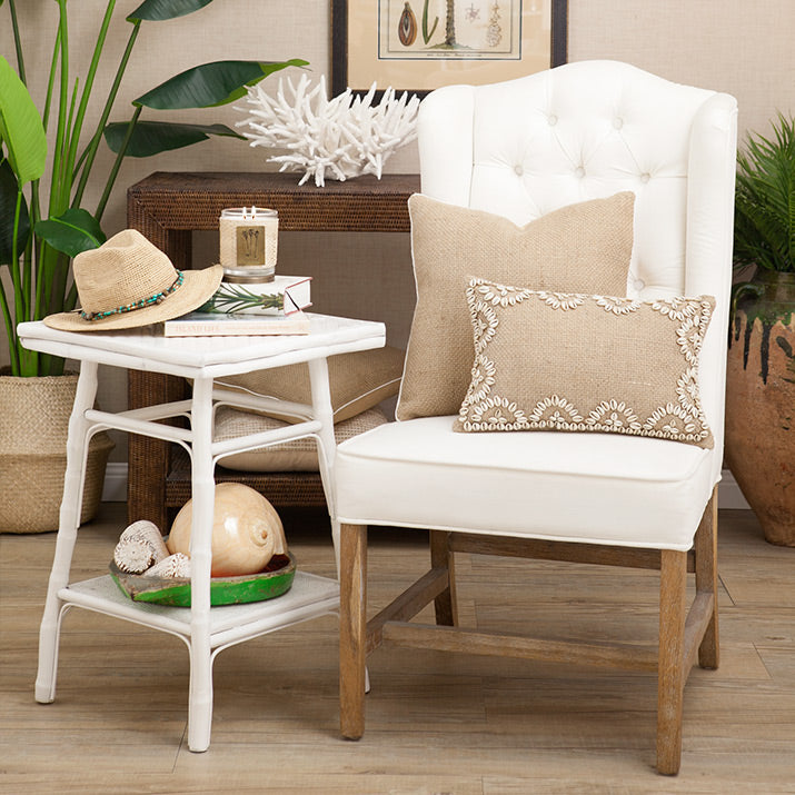 Shell cushions, bamboo furniture and rattan.