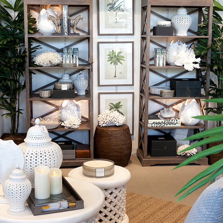 Styled bookcases with palm prints.