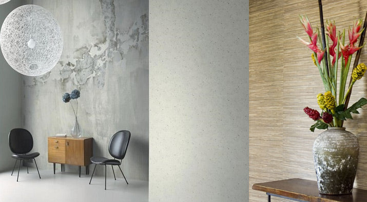 Concrete & grass cloth wallpaper from Vision Wallcoverings.