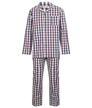 Load image into Gallery viewer, http://images.esellerpro.com/2278/I/186/139/WR2813-walker-reid-mens-navy-check-pyjamas-pjs-set-1.jpg