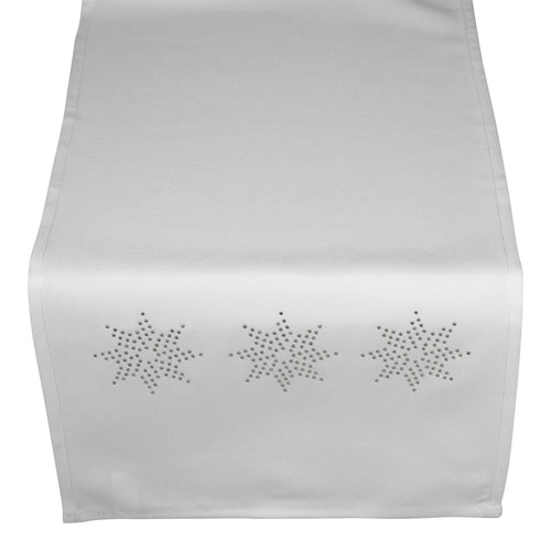 Festive Runner with Silver Diamante Stars - White (13
