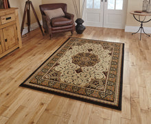 Load image into Gallery viewer, http://images.esellerpro.com/2278/I/104/771/heritage-4400-traditional-classic-design-wool-look-rug-mat-black-room.jpg