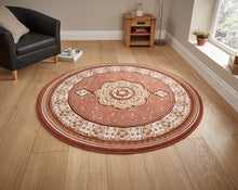 Load image into Gallery viewer, http://images.esellerpro.com/2278/I/104/771/heritage-4400-traditional-classic-design-wool-look-rug-mat-circle-terracotta-room.jpg
