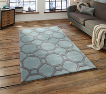 Load image into Gallery viewer, http://images.esellerpro.com/2278/I/116/952/hong-kong-4338-geometric-hexagon-design-rug-mat-blue-grey-room.jpg
