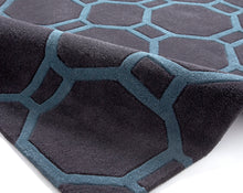 Load image into Gallery viewer, http://images.esellerpro.com/2278/I/116/952/hong-kong-4338-geometric-hexagon-design-rug-mat-charcoal-blue-detail.jpg