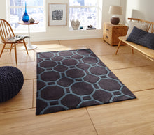 Load image into Gallery viewer, http://images.esellerpro.com/2278/I/116/952/hong-kong-4338-geometric-hexagon-design-rug-mat-charcoal-blue-room.jpg
