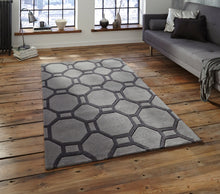 Load image into Gallery viewer, http://images.esellerpro.com/2278/I/116/952/hong-kong-4338-geometric-hexagon-design-rug-mat-grey-room.jpg