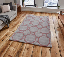 Load image into Gallery viewer, http://images.esellerpro.com/2278/I/116/952/hong-kong-4338-geometric-hexagon-design-rug-mat-grey-rose-room.jpg