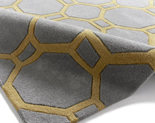 Load image into Gallery viewer, http://images.esellerpro.com/2278/I/116/952/hong-kong-4338-geometric-hexagon-design-rug-mat-grey-yellow-detail.jpg