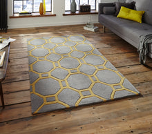 Load image into Gallery viewer, http://images.esellerpro.com/2278/I/116/952/hong-kong-4338-geometric-hexagon-design-rug-mat-grey-yellow-room.jpg