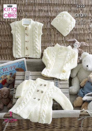 http://images.esellerpro.com/2278/I/151/389/king-cole-aran-knitting-pattern-baby-coat-sweater-gilet-hat-5223.jpg