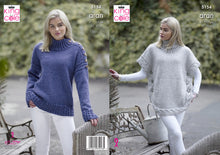 Load image into Gallery viewer, http://images.esellerpro.com/2278/I/150/433/king-cole-aran-knitting-pattern-ladies-womens-poncho-sweater-5154.jpg