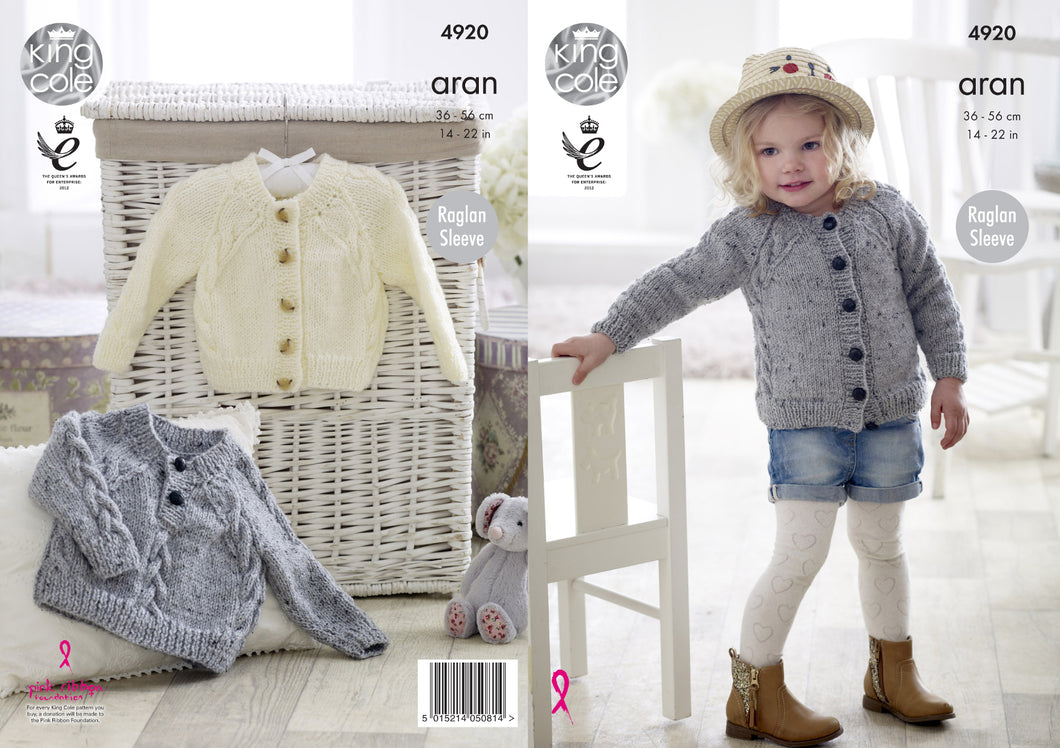 http://images.esellerpro.com/2278/I/140/085/king-cole-baby-aran-knitting-pattern-cabled-raglan-sleeve-sweater-cardigan-4920.jpg