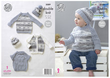 Load image into Gallery viewer, http://images.esellerpro.com/2278/I/147/815/king-cole-baby-double-knit-knitting-pattern-raglan-sleeve-cardigan-sweaters-hat-5089-border.jpg