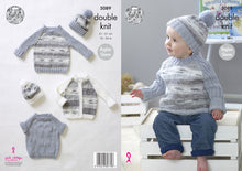 Load image into Gallery viewer, http://images.esellerpro.com/2278/I/147/815/king-cole-baby-double-knit-knitting-pattern-raglan-sleeve-cardigan-sweaters-hat-5089.jpg