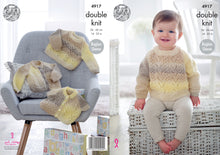Load image into Gallery viewer, http://images.esellerpro.com/2278/I/140/076/king-cole-baby-double-knitting-pattern-raglan%20sleeve-lace-cardigans-sweater-4917.jpg