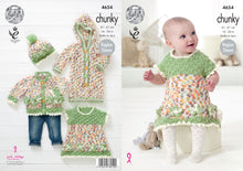 Load image into Gallery viewer, http://images.esellerpro.com/2278/I/127/083/king-cole-chunky-knitting-pattern-baby-set-dress-cardigan-onesie-hat-4654.jpg