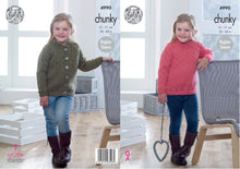 Load image into Gallery viewer, http://images.esellerpro.com/2278/I/142/446/king-cole-chunky-knitting-pattern-girls-sweater-cardigan-4990.jpg