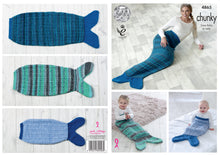Load image into Gallery viewer, http://images.esellerpro.com/2278/I/139/835/king-cole-chunky-knitting-pattern-ladies-kids-babies-mermaid-tail-blankets-4865.jpg