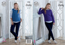 Load image into Gallery viewer, http://images.esellerpro.com/2278/I/142/440/king-cole-chunky-knitting-pattern-ladies-womens-sweater-slipover-4988.jpg