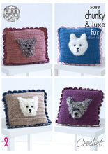 Load image into Gallery viewer, http://images.esellerpro.com/2278/I/146/946/king-cole-chunky-luxe-fur-crochet-pattern-dog-cushions-5088.jpg