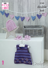 Load image into Gallery viewer, http://images.esellerpro.com/2278/I/150/412/king-cole-double-knit-crochet-pattern-baby-pinafore-dress-bunting-hat-shoes-bootees-5145.jpg