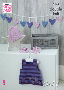 http://images.esellerpro.com/2278/I/150/412/king-cole-double-knit-crochet-pattern-baby-pinafore-dress-bunting-hat-shoes-bootees-5145.jpg