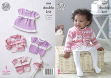 Load image into Gallery viewer, http://images.esellerpro.com/2278/I/146/937/king-cole-double-knit-knitting-pattern-baby-frilly-dress-cardigans-5085.jpg