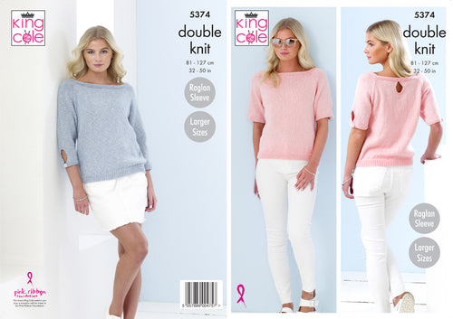 King Cole Double Knitting Pattern - Ladies Sweaters (5374)