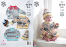 Load image into Gallery viewer, http://images.esellerpro.com/2278/I/142/614/king-cole-double-knitting-pattern-baby-cardigans-sweater-hat-4997.jpg