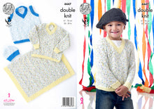 Load image into Gallery viewer, http://images.esellerpro.com/2278/I/124/682/king-cole-double-knitting-pattern-boys-sweater-slipover-hat-blanket-4447.jpg