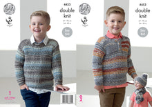 Load image into Gallery viewer, http://images.esellerpro.com/2278/I/124/489/king-cole-double-knitting-pattern-boys-sweaters-hat-scarf-4453.jpg
