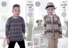 Load image into Gallery viewer, http://images.esellerpro.com/2278/I/142/533/king-cole-double-knitting-pattern-childrens-sweater-cardigan-4916.jpg