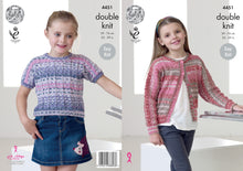 Load image into Gallery viewer, http://images.esellerpro.com/2278/I/124/483/king-cole-double-knitting-pattern-girls%20dolman-cardigan-top-4451.jpg
