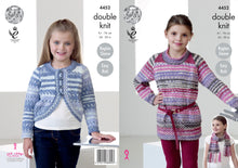 Load image into Gallery viewer, http://images.esellerpro.com/2278/I/124/486/king-cole-double-knitting-pattern-girls%20tunic-cardigan-scarf-4452.jpg