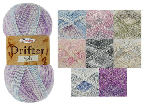 King Cole Drifter 4 Ply Knitting Yarn 100g Ball (Various Shades)