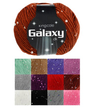 Load image into Gallery viewer, http://images.esellerpro.com/2278/I/131/668/king-cole-galaxy-dk-double-knit-knitting-sequin-yarn-wool-12-colours-group-image.jpg