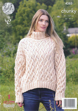 Load image into Gallery viewer, http://images.esellerpro.com/2278/I/119/454/king-cole-ladies-chunky-knitting-pattern-lace-effect-round-polo-neck-sweaters-4385-back.jpg