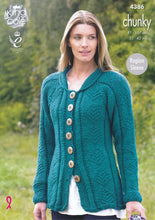Load image into Gallery viewer, http://images.esellerpro.com/2278/I/119/458/king-cole-ladies-chunky-knitting-pattern-raglan-sleeve-cardigan-coat-4386-front.jpg