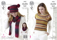 Load image into Gallery viewer, http://images.esellerpro.com/2278/I/134/369/king-cole-ladies-womens-double-knit-crochet-pattern-top-hat-scarf-snood-4763.jpg