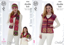 Load image into Gallery viewer, http://images.esellerpro.com/2278/I/134/372/king-cole-ladies-womens-double-knit-crochet-pattern-waistcoat-hat-scarf-shoulder-wrap-4764.jpg