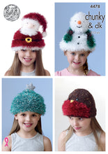 Load image into Gallery viewer, http://images.esellerpro.com/2278/I/122/498/king-cole-tinsel-chunky-knitting-pattern-childrens-festive-christmas-novelty-hats-4478.jpg