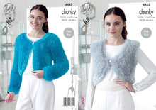 Load image into Gallery viewer, http://images.esellerpro.com/2278/I/122/495/king-cole-tinsel-chunky-ladies-knitting-pattern-v-round-neck-boleros-4443.jpg
