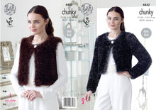 Load image into Gallery viewer, http://images.esellerpro.com/2278/I/122/492/king-cole-tinsel-chunky-ladies-knitting-pattern-v-round-neck-cardigans-4442.jpg
