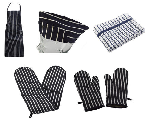 4 Piece 100% Cotton Kitchen / BBQ Linen Set - Navy Blue (Various Options)