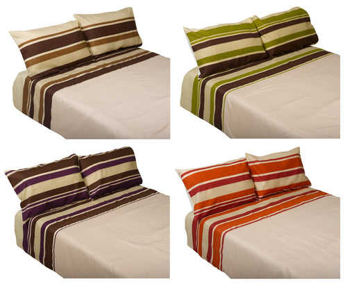 Striped Quilt Cover & Two Pillow Case Set (4 Colours)